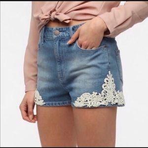 UO BDG Erin Lace High Waist Rise Denim Shorts